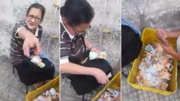 Anciana genera polémica al presumir  de las limosnas que gana al día