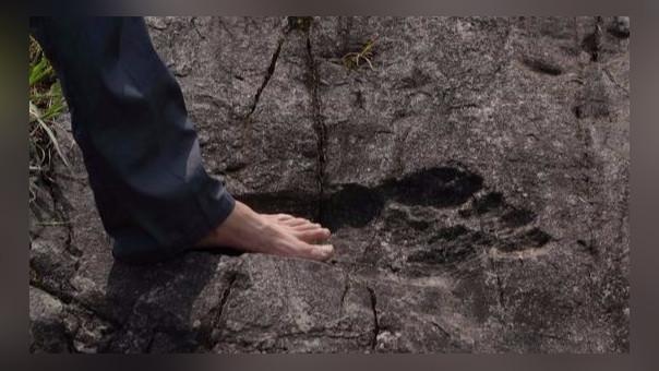 Hallan huellas humanas gigantes fosilizadas en China