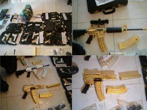 Hallan armas con oro y diamantes en bodega de narcotraficante mexicano
