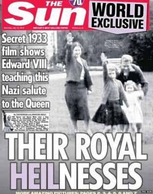 Las polémicas imágenes de la reina Isabel haciendo el saludo nazi