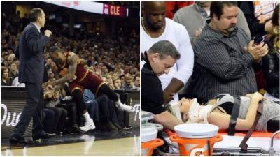 LeBron James cayó sobre fanática y tuvo que ser llevada al hospital