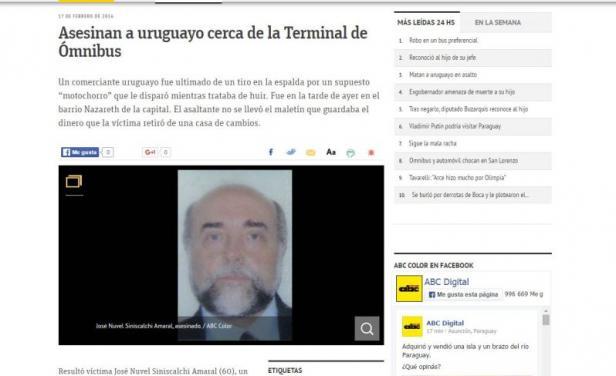 Un empresario uruguayo fue asesinado en Paraguay