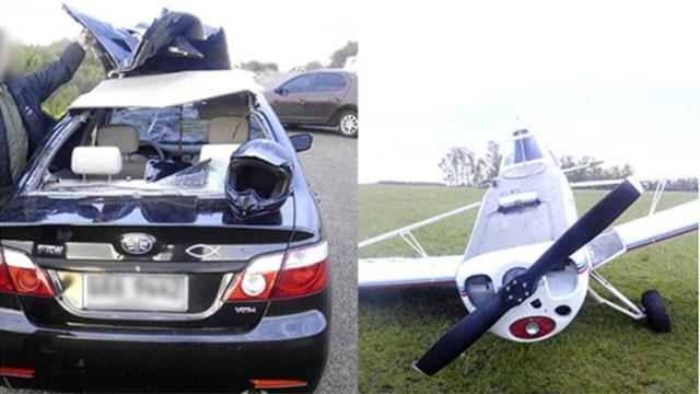 Caen dos avionetas en Artigas y Rocha; una le arrancó el techo a un auto