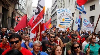 Frente Ampio y Pit-Cnt marchan en apoyo a Dilma Rousseff