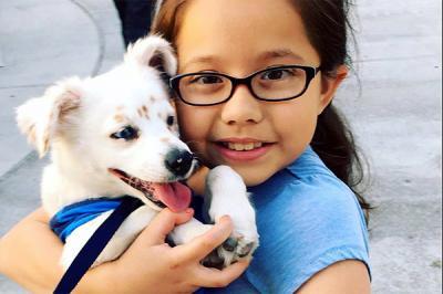 La niña y su perro sordos que se comunican por lenguaje de señas