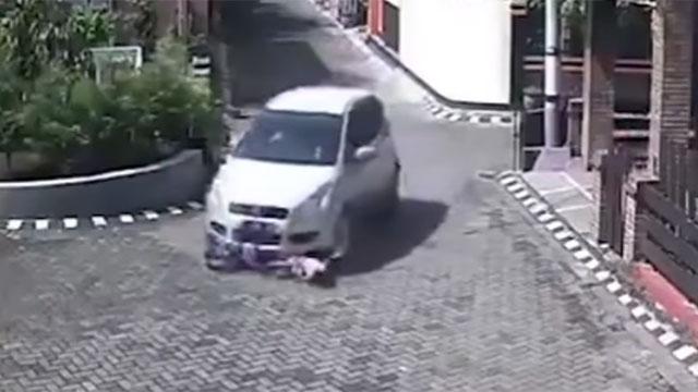 Una niña fue arrollada por un auto y salió caminando como si nada