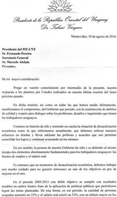 """""""Reconocemos avances positivos en modificación de pautas salariales, la rigurosidad en propuestas y actitud de negociación""""; PIT-CNT a respuesta de Vázquez"""